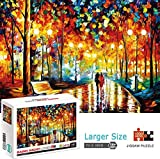 1000 Piece Puzzles for Adults Large Vintage Jigsaw Puzzle Teens Fun and Challenging Game Educational Toy Gift 12 Years and up - Forest Rainy Night Lover
