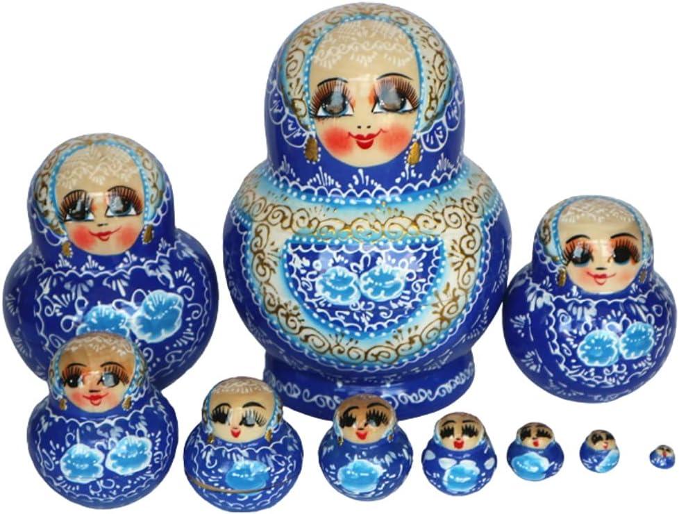 MQH Blue Golden Russian Nesting Dolls Matryoshka Direct sale of Max 46% OFF manufacturer St 10pcs Wooden