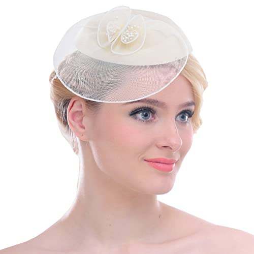 bdaa2fb9 FAYBOX Fascinators Sinamay Hats for Women for Tea Party Kentucky Derby Wedding  Cocktail Mesh Feathers Hair