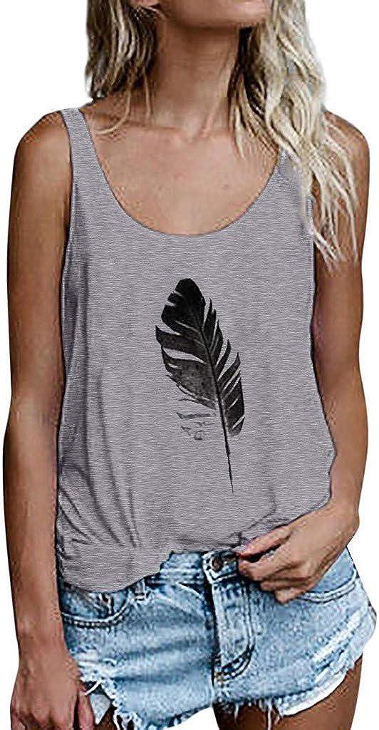AODONG Women Tank Tops,Women Leaf Print Vest Sleeveless Loose Crop Tops Tank Tops Blouse Tops T-Shirt