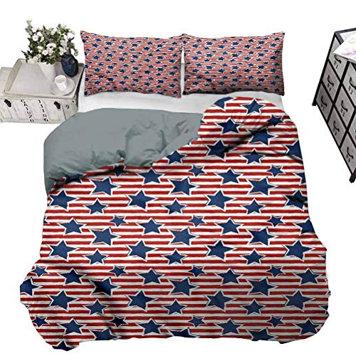 painting-home Quilt Cover 4th of July, Old Glory Design Lightweight Comforter Case Set Very Soft, Comfortable, and Classy Twin - 70 x 90 Inch
