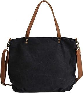 Neuleben Schultertasche Damen Umhängetasche Canvas Tasche Shopper Frauen Handtasche Segeltuch Henkeltasche mit Reißverschluss für Arbeit Einkauf Büro Schule Reise Schwarz