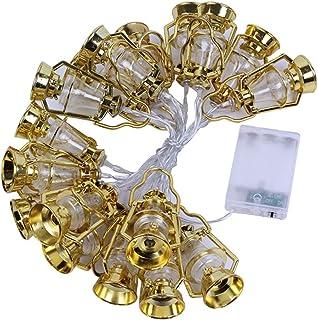 LED Muslim Ramadan String Lights Golden Kerosene Lamp Shape Light Decoration Fairy Light String for Festival Party Bedroom...