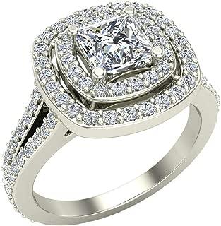 Magnificent Princess Diamond Cushion Halo V Shank Engagement Ring 1.50 ctw 14K Gold (G,I1)