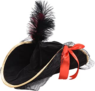 Ladies High Quality Deluxe Pirate Bucanneer Captain Fancy Dress Hat W/ Feather