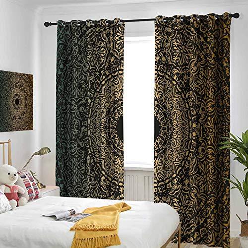 Gold Window Curtains Set Spiritual Ritual Symbol Kaleidoscopic Universe Meditation Balance Function Curtain-Wide Patio Door Curtain Panel 72 x 72 inch