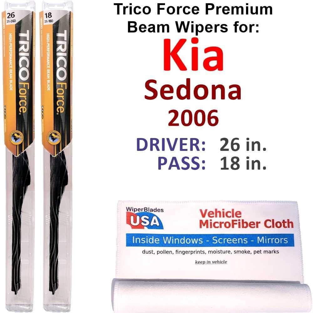 Premium Beam Wiper Blades for 2006 Be 信託 祝開店大放出セール開催中 Set Trico Sedona Kia Force