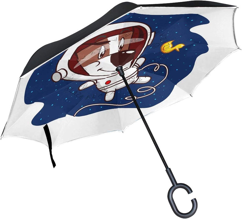 Ingreened Umbrella Double Layer Reverse Umbrella Waterproof Windproof UV Predection Straight Umbrella with CShaped Handle Astronaut Dog Digital Printing for Car Rain Outdoor Use