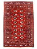 Alfombra tradicional persa Bokhara hecha a mano, lana, borgoña/rojo, pequeña, 124 x 192 cm, 4' 1' x 6' 4' (pies)