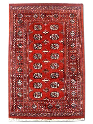 Pak Persian Rugs Tapis Noué Main Boukhara, Bourgogne/Rouge, Laine, Small, 124 X 192 cm