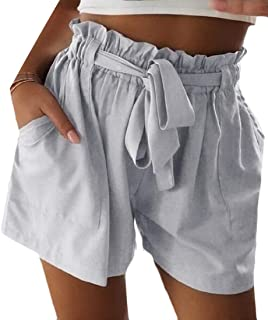 Yeirui Womens Rise Mid Bandage Color Solid Flat-Front Casual Beach Shorts
