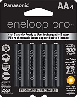 Panasonic Eneloop Pro Rechargable Battery, AA4, 4 Count