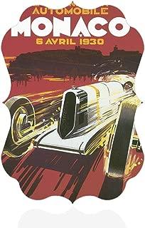 Sign Destination Aluminum Metal Wall Decor Grand Prix Monaco 1930 Old Travel Vertical Poster Picture Photo Print Wall Art - Benelux Shape, 5