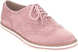 Wonvatu Women's Platform Lace-Up Oxfords Shoes Casual Wingtip Brogue Loafers Leather Perforated Dress Shoes