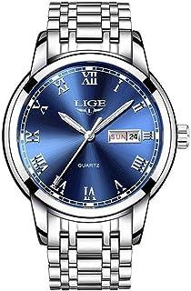 9846 - Reloj analógico de cuarzo con correa de acero inoxidable para hombre