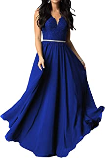 Bridesmaid Dress Long Chiffon V Neck Evening Dresses Lace Beaded Wedding Party Gowns P73