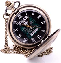 KDJSTORE Antique The Nightmare Before Christmas Jack Nightmare Quartz Mens Pocket Watch Pendant Necklace Chain&Fob Chain for Kids