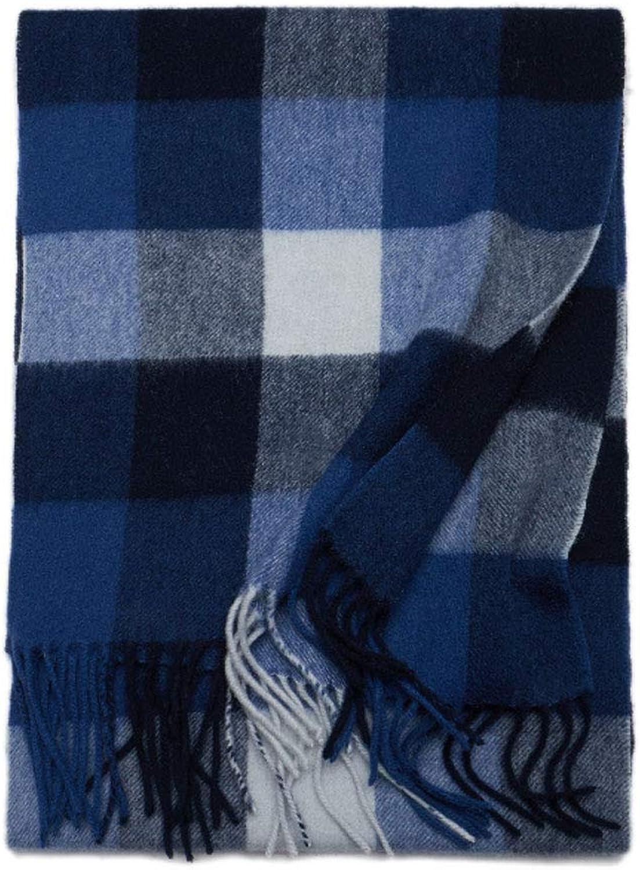 ZXW Scarf Winter Korean Version of The Versatile Simple Long Warm Wool Scarf (color   blueeWhite, Size   30x180cm)