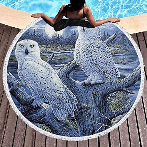 Toalla De Playa Redonda,Patrón De Dos Búhos Portátil Resistente A La Arena Súper Ligera De Secado Rápido Manto Redondo para La Playa Manta De Picnic De Viaje Multiuso Estera De Yoga