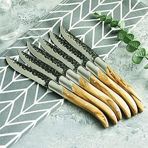 Coltello da bistecca Set Black Blade Blade Blade Coltelli da pranzo con manico in legno d'ulivo Set...