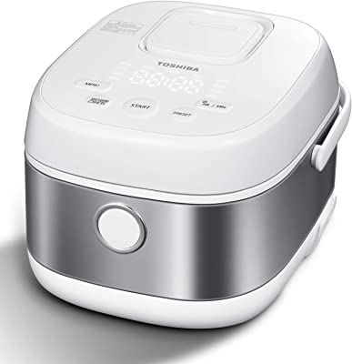 Toshiba Low Carb Digital Programmable Multi-functional Rice Cooker, Slow Cooker, Steamer & Warmer, 5.5 Cups Uncooked with Fuzzy Logic and One-Touch Cooking, 24 Hour Delay Timer and Auto Keep Warm Feature, White