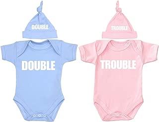 BabyPrem Baby Twin Bodysuit & Knotted Hat Set Double Trouble