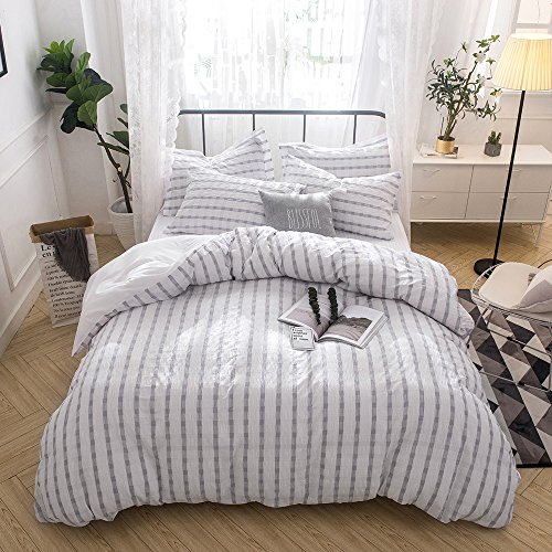 Merryfeel Seersucker 100% Cotton Yarn Dyed Duvet Cover Set - Full/Queen Grey