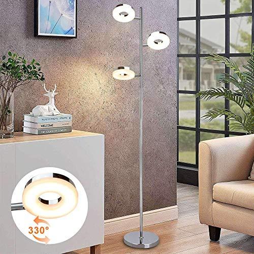 PADMA Lámpara de pie LED de 12 W, para salón, con 3 focos, moderna lámpara giratoria con pie de pie, luz blanca cálida 3000 K, 960 lm, 3 focos de techo de 4 W para dormitorio, oficina