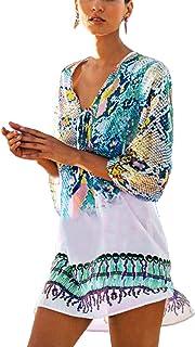 QIUYEJUO Womens Loose Swimwear Cover UPS Bikini Swim Beach Wear Cover up Dress