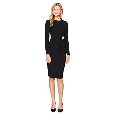 Maggy London Crystal Crepe Cocktail Sheath Dress with Side Broach (Black) Women