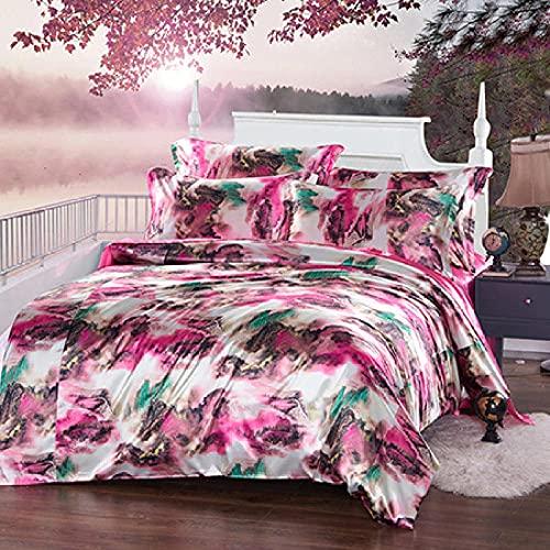 Individual Funda De EdredóN Y Funda,Caja de seda de seda 3D, ropa de cama fresca para la piel, cinturón de cama de cama doble de cama doble, juego de cuatro piezas sano respetuoso con el medio ambien