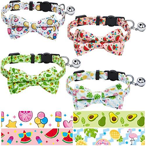 4 Piezas Collares de Gatos Ajustable de Verano Collar de Elementos de...