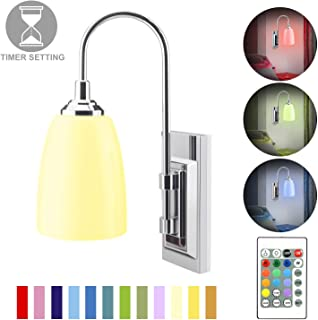 HONWELL Wall Lamp Battery Operated LED Wall Sconces Indoor Wireless Multi Color Wall Sconce Light Fixture for Room Lightin...