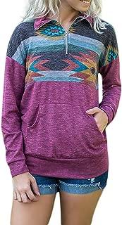 Kulywon Loose Fashion Womens Long Sleeve Print Pockets Zipper Sweatshirt Pullover Blouse Tops