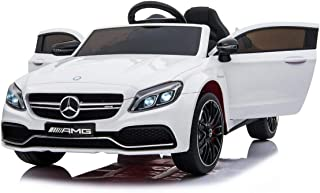 Dorsa 12V Mercedes-Benz C63 Ride on Car with Remote Control, Spring Suspension, Radio, & More. Electric Cars for Kids White