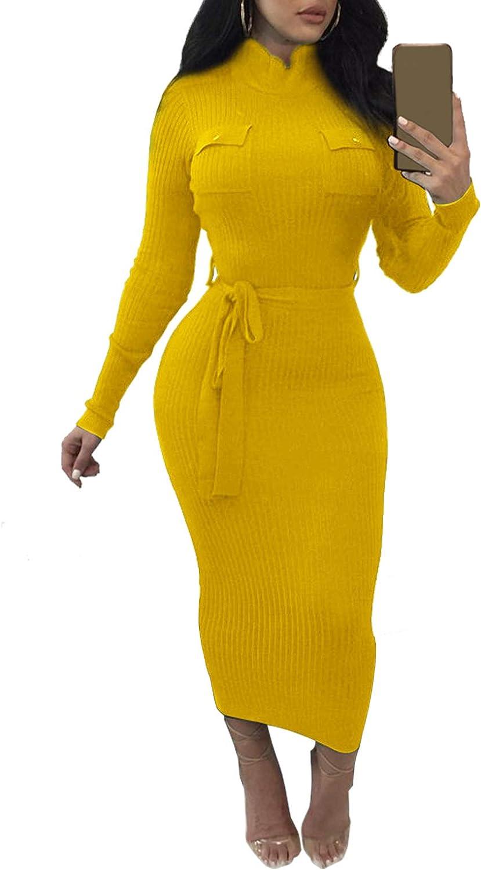 HOPES KINGDOM Women Turtleneck Long Sleeve Slim Bodycon Wrap Tunic Front Pockets Pencil Long Knitted Sweater Dress