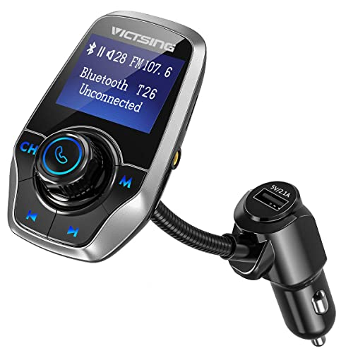 Transmetteur FM Bluetooth Kit Voiture Bluetooth ERAYAK 5V 2.1A//1A USB Chargeur Adapteur Voiture Sans Fil Radio USB Double Support cl/é USB et carte TF