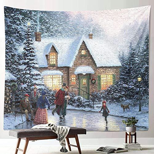 Escena de nieve navideña decoración de tapices año nuevo arte de tela colgante pintura colgante de pared manta de pared para el hogar revestimiento de paredes A11 130x150cm