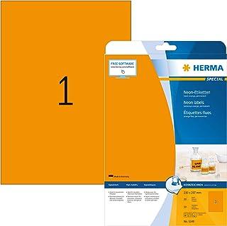 HERMA Etichette per Marcatura, 210 x 297 mm, Etichette Adesive A4 per Stampante, 1 Etichette per Foglio, Arancio Neon