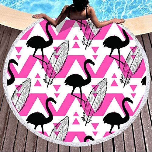 Shinelly Strandlaken met flamingo-patroon, yogamat, Indiase mandala, rond, katoen, tafelkleed, strandhanddoek, ronde yogamat, sjaal,59 in het strand, vrije tijd