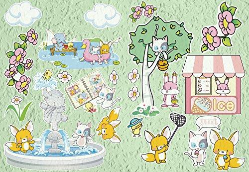 AM Wohnideen wandsticker, zelfklevend, wandstickers, babykamer, kinderkamer, fotobehang, stickers in het park, kinderkamer