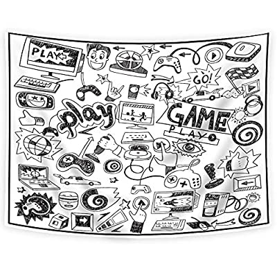 SVBright Video Games Tapestry Boys Kids Monochrome Sketch Gaming Design Racing Monitor Device Gadget Black and White Teen 90's 51Hx59W Inch Art Wall Hanging Bedroom Living Room Dorm Decor Fabric from SVBright