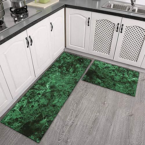 TylerLiu Green Emerald Marble Abstract Kitchen Mat 2 Piece Cushioned Anti-Fatigue Kitchen Rug,Waterproof Non-Slip Kitchen Mats,Floor Home,Sink,Laundry,Office