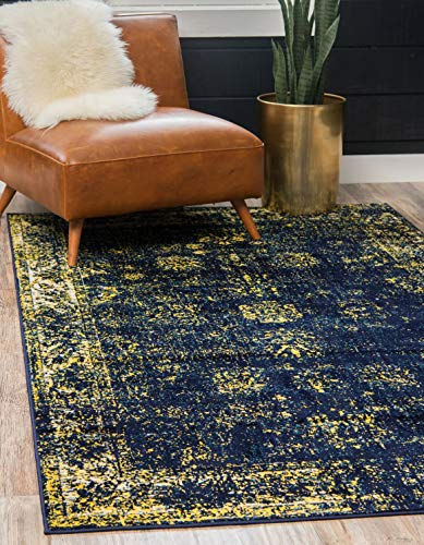Unique Loom 3137811 Sofia Collection Traditional Vintage Beige Area Rug, 4' 0 x 6' 0 Rectangle, Navy Blue
