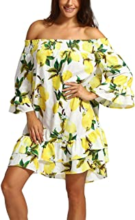 lotus.flower Women Bandage Casual Chiffon Print Off Shoulder Lemon Print Above Knee Mini Dress Loose Party Dress (M, Yellow)