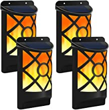 TEALP Solar Flame Lights Outdoor, Waterproof Flickering Flame Wall Lights with Dark Sensor Auto On/Off 66 LED Solar Powered Night Lights Lattice Design for Garden Pathway Patio Deck Yard 4 Packs