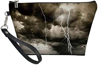 Nature Useful Cosmetic Bag,Majestic Rain Cloud with A Thunderstorm All over the Ocean Flash Sea Dramatic Scenery for Travel,for Women Makeup Bags Pouch Purse Handbag Organizer