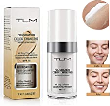 TLM Colour Changing Foundation, Flawless Colour Changing Foundation Makeup Base Nude Face Moisturizing Liquid Cover Concealer for All Skin Types, SPF15, 1 Fl Oz
