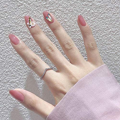 DKHF Valse nagels 24 stks/doos volledige dekking korte ronde druk op nagels roze druipende vorm hart nagel tips draagbare nep nagel met