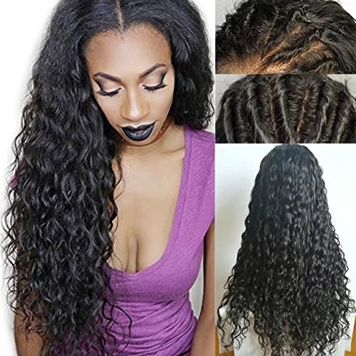 Beauty Hair Curly Water Wave Weavy Wig Brazilian Perruque Cheveux Humain Deep Curly wave Sans Colle 150% Density Lace Front Wigs with Baby Hair (14 inch,1B)